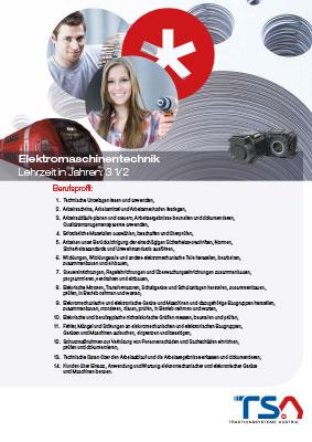 TSA Folder Lehrberufsbeschreibung Elektromaschinentechnik Coverbild