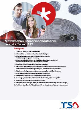 TSA Folder Lehrberufsbeschreibung Metalltechnik - Maschinenbautechnik Coverbild