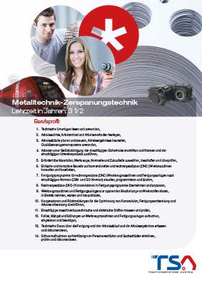 TSA Folder Lehrberufsbeschreibung Metalltechnik - Zerspanungstechnik Coverbild