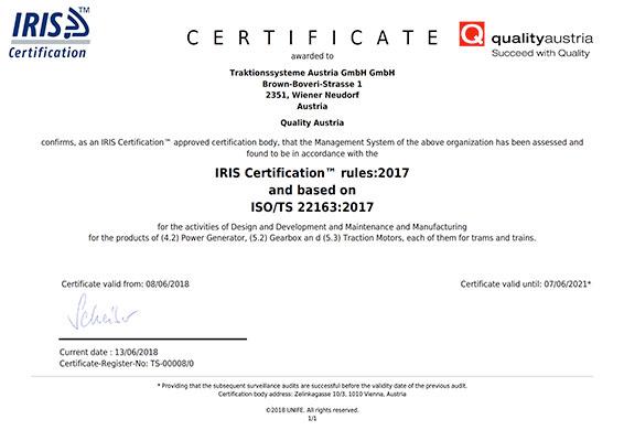 ISO/TS 22163 certificate TSA cover