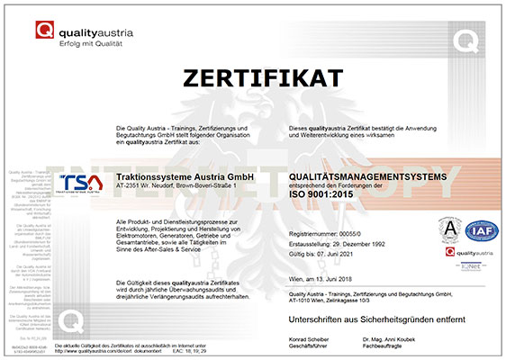 Quality Management System ISO 9001 certificate TSA cover