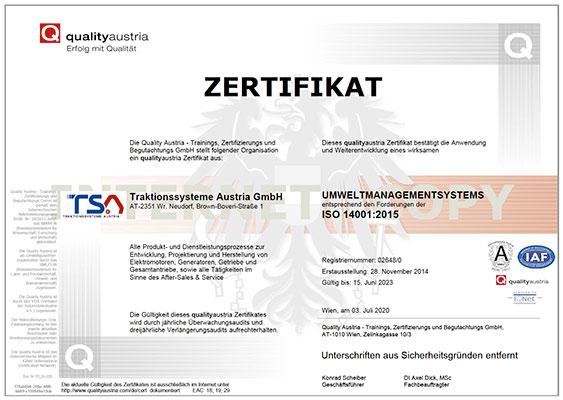 Environmental Management System ISO 14001 certificate TSA cover