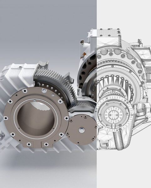 Rendering of a traction drive. Half rendering, half drawing.