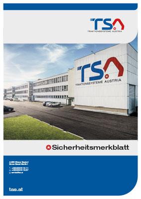 TSA Folder Safety data sheet - cover