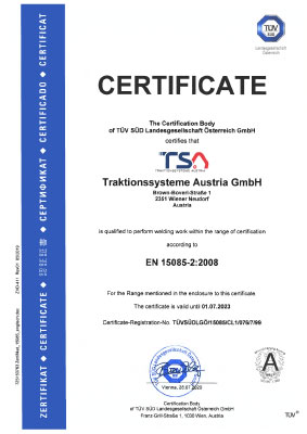 Welding of railway vehicles & components EN 15085-2 certificate TSA cover