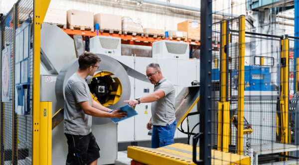 TSA employee during production inspection at eccentric press