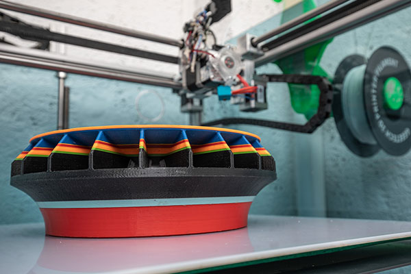 Part of a sample of a TSA electric motor is printed in 3D printer