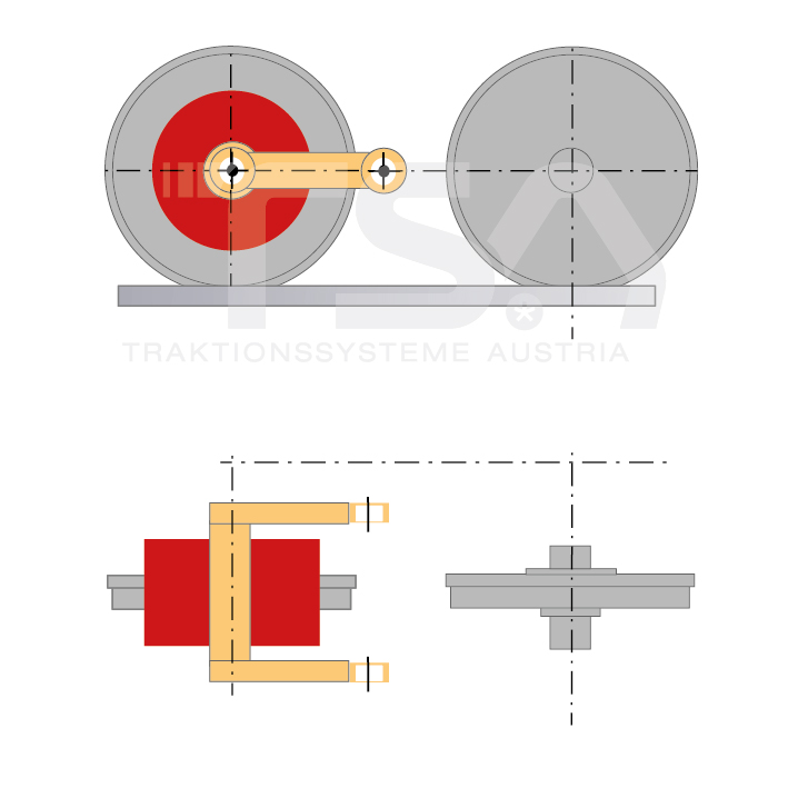Graphical illustration of a transverse, single-wheel, nose-suspended drive system