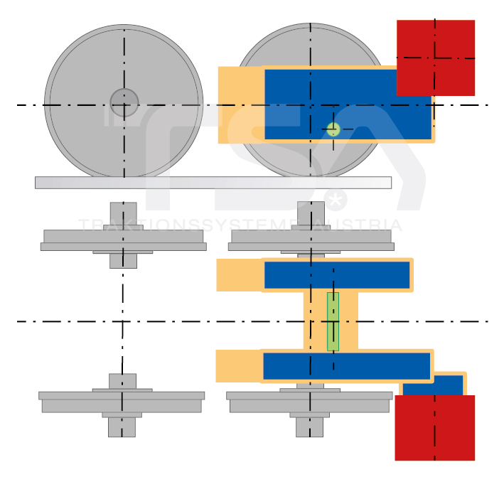 Graphical illustration of a transverse, single-wheel, nose-suspended drive system GFT 6/1
