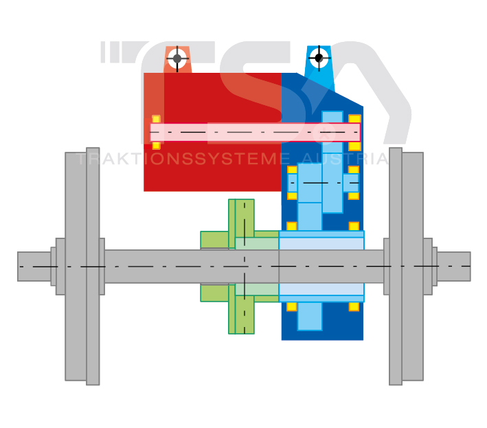 Graphical illustration of a semi-suspended GIK 2 drive system