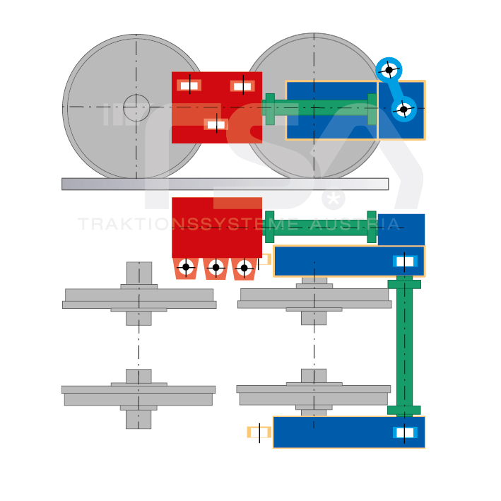 Graphical illustration of a longitudinal, single-wheel, partly suspended drive system GKD 4/1