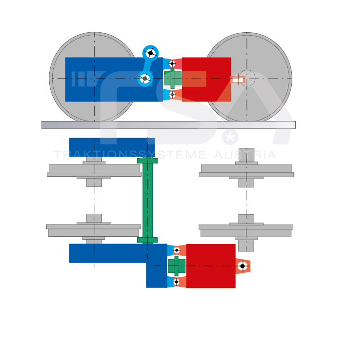 Graphical illustration of a longitudinal, single-wheel, partly suspended drive system GKD 5/3