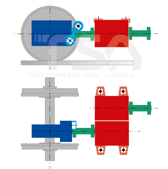 Graphical illustration of a longitudinal, single-axle, partly suspended drive system GKD 5 - (2)