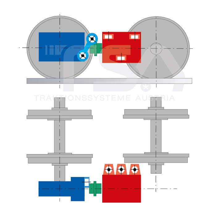 Graphical illustration of a longitudinal, single-axle, partly suspended drive system GKD 5 - (3)