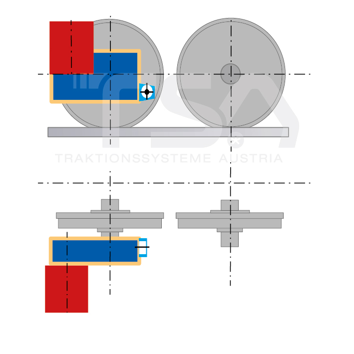 Graphical illustration of a transverse, single-wheel, nose-suspended drive system GMD 2