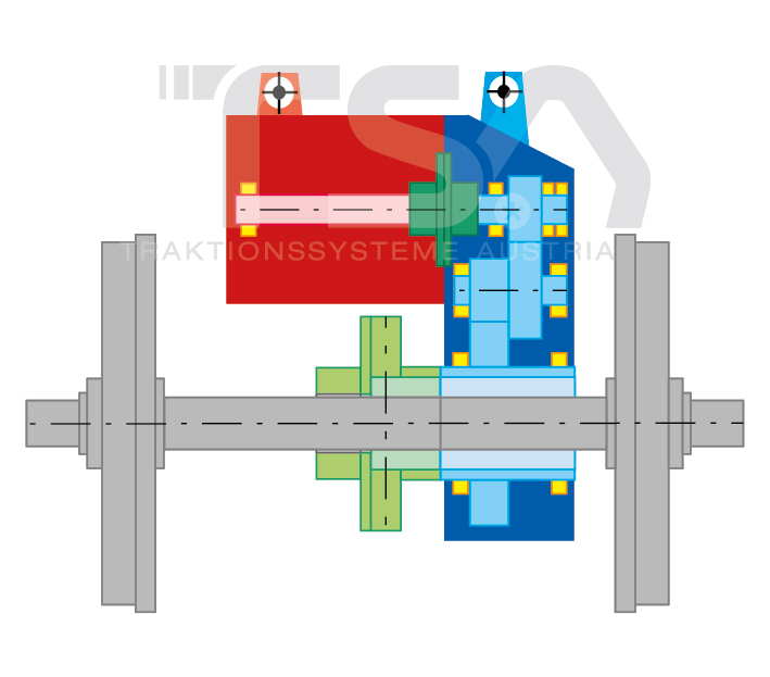 Graphical illustration of a semi-suspended GMK 2 drive system